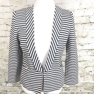 Ann Taylor Navy White Stripe Jacket Blazer 10